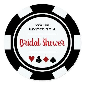 casino poker chip black and white bridal shower invitation