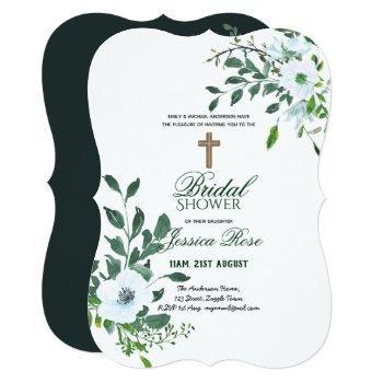 catholic bridal shower invitations flowers cross