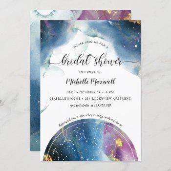 celestial constellations and stars bridal shower invitation