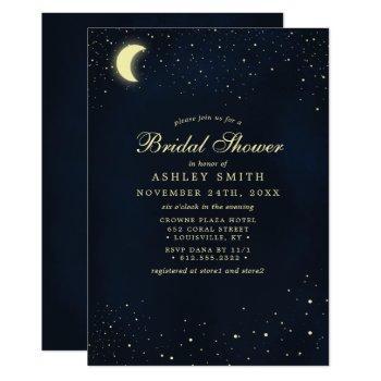 celestial moon stars midnight blue bridal shower invitation