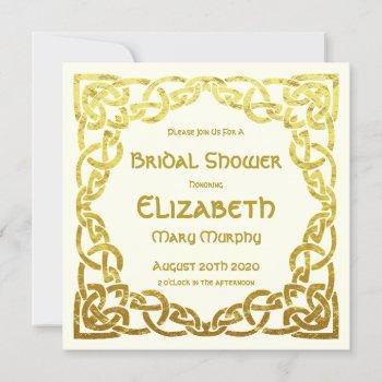 celtic wedding faux gold celtic knot bridal shower invitation