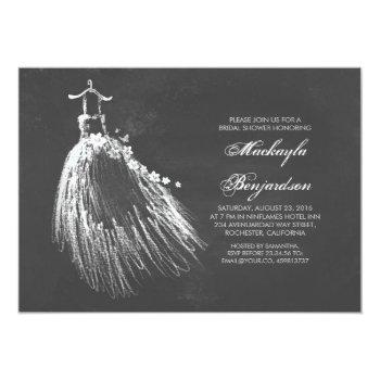 chalkboard bridal shower with wedding gown invitation