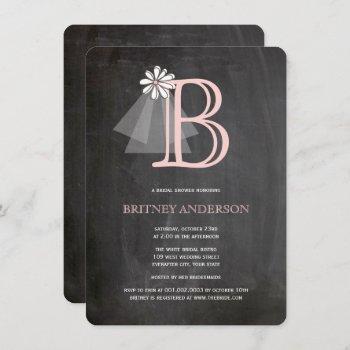 chalkboard bride's veil monogram bridal shower invitation