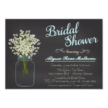chalkboard mason jar baby's breath bridal shower invitation