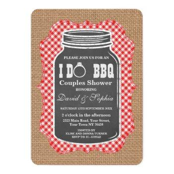 chalkboard mason jar burlap i do bbq invitation