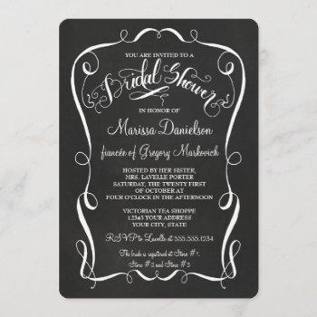 chalkboard scroll bridal shower invite calligraphy