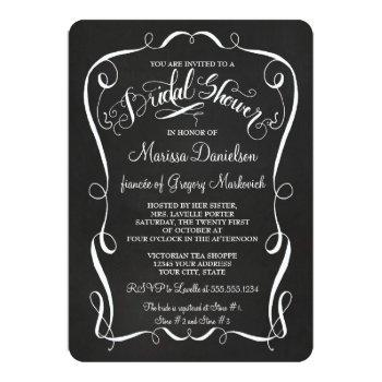 chalkboard scroll bridal shower invite calligraphy