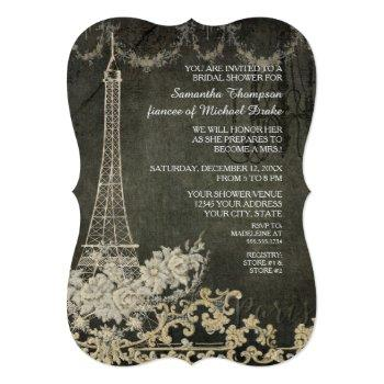 chalkboard vintage paris parisian bridal shower invitation