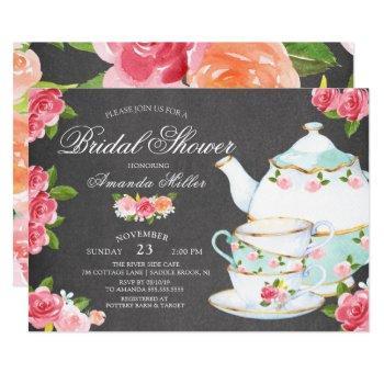chalkboard watercolor foral tea bridal shower invitation