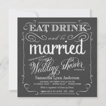 chalkboard wedding shower invitations