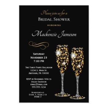 champagne black bridal shower invitation