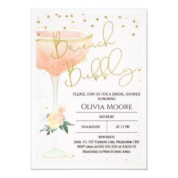 champagne brunch bubbly bridal shower invitation