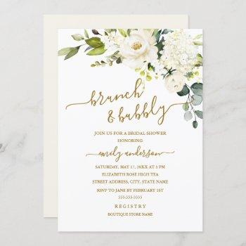 champagne floral brunch and bubbly bridal shower invitation