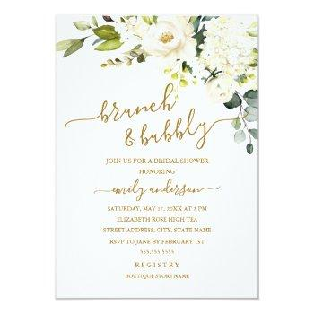 Champagne Floral Brunch And Bubbly Bridal Shower Invitation Front View