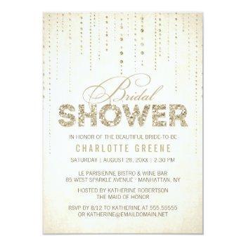 champagne gold glitter look bridal shower invitation