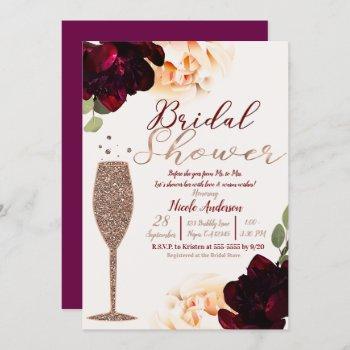 champagne rose gold floral bridal shower invitation