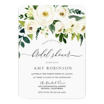 champagne white flowers elegant bridal shower invitation
