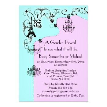 chandelier whimsical baby reveal paris invitation