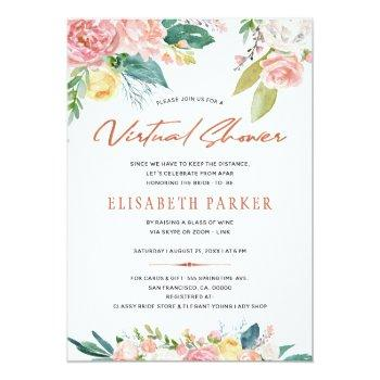 Small Change Plans Bridal Pink Floral Virtual Shower Invitation Front View