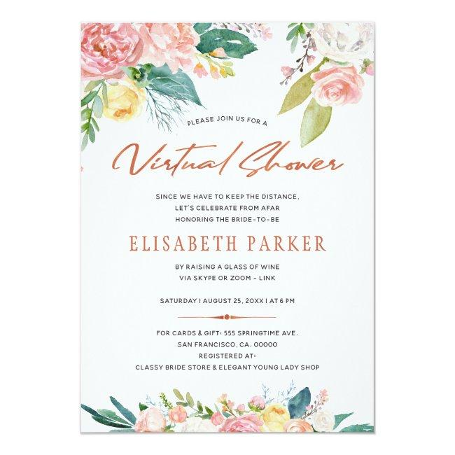 Change Plans Bridal Pink Floral Virtual Shower Invitation