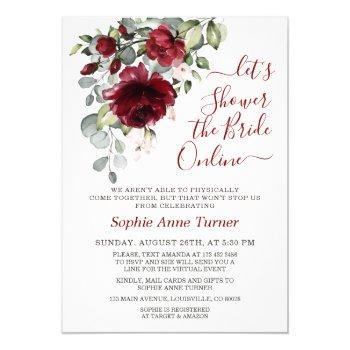 charm burgundy blush flowers virtual bridal shower invitation