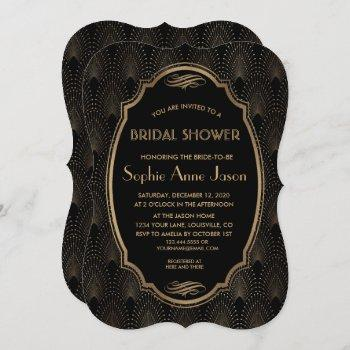 charm great gatsby vintage art deco bridal shower invitation