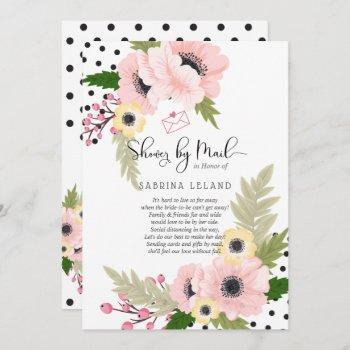 cheerful pink yellow poppies dots shower by mail invitation