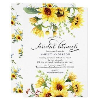 cheerful yellow sunflower bridal shower brunch invitation