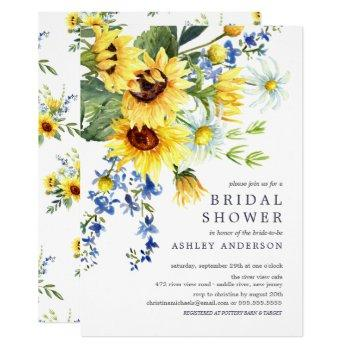 cheerful yellow sunflower bridal shower invitation