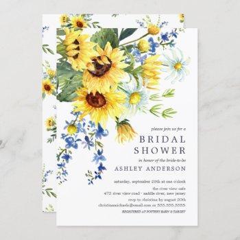 cheerful yellow sunflower bridal shower invitation