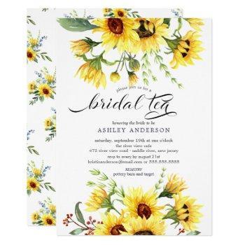 cheerful yellow sunflower bridal tea invitation