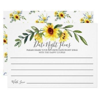 cheerful yellow sunflower date night ideas card