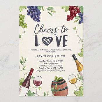 cheers to love bridal shower invite wine tasting