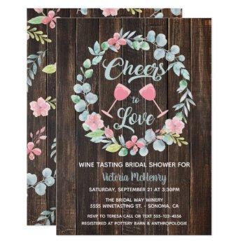 cheers to love wine tasting bridal shower invites