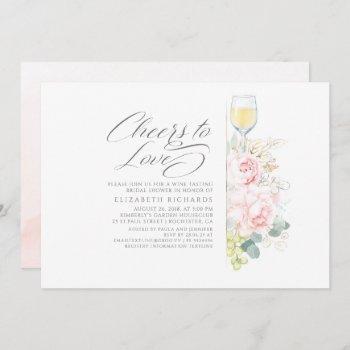 cheers to love wine tasting pink bridal shower invitation