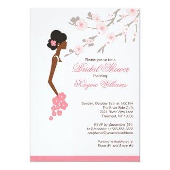cherry blossom african american bridal shower invitation
