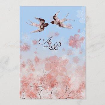 cherry blossom and love swallows wedding invitation