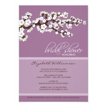 cherry blossom bridal shower invitation (lavender)