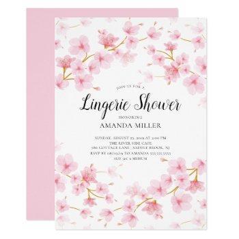 cherry blossom floral bridal lingerie shower invitation