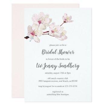 cherry blossom japanese sakura bridal shower invitation