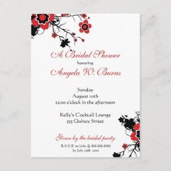 cherry blossom modern custom bridal shower invitation postcard