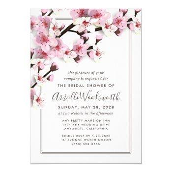 cherry blossom pink bridal shower invitations