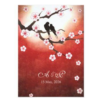 cherry blossom sakura love birds wedding invite