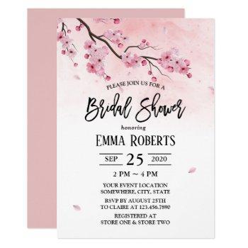 cherry blossom watercolor floral bridal shower invitation