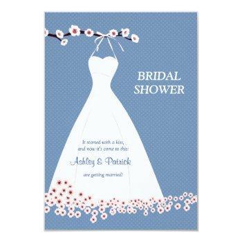 cherry blossom  & wedding dress on polka backgroun invitation