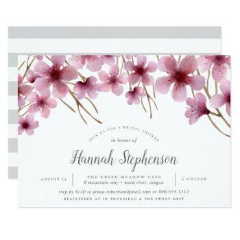 cherry blossoms bridal shower invitation