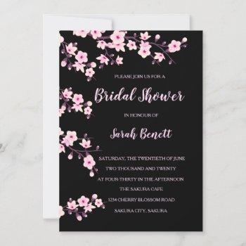 cherry blossoms pink black bridal shower invitation