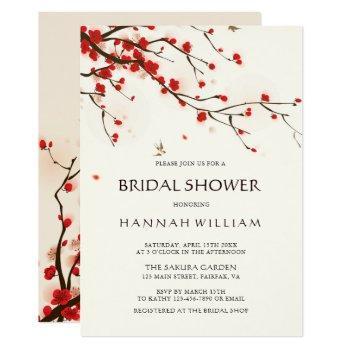 cherry blossoms | sakura watercolor bridal shower invitation