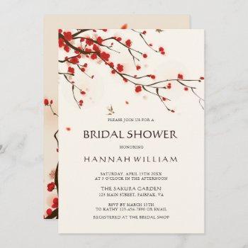 cherry blossoms   sakura watercolor bridal shower invitation
