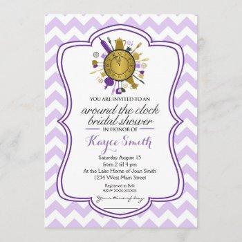 chevron around the clock bridal shower invitation